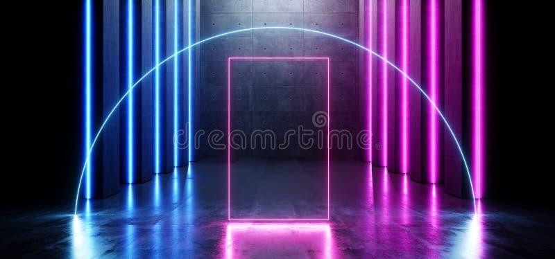 未来派画廊地下室发光的弧圈子霓虹激光束紫色蓝色难看的东西混凝土水泥黑暗的空的科学幻想小说 向量例证