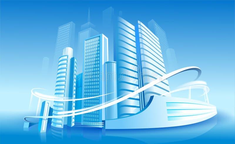 未来派的城市 向量例证