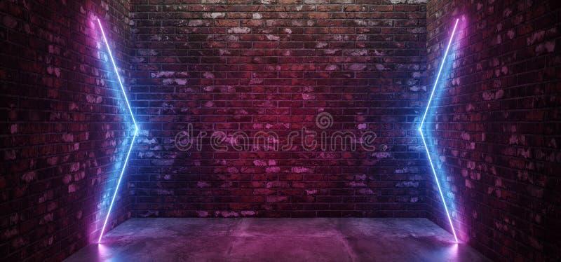 未来派科学幻想小说典雅的现代霓虹发光的箭头塑造了线在黑暗的空的难看的东西的管紫色桃红色蓝色色的光 库存例证