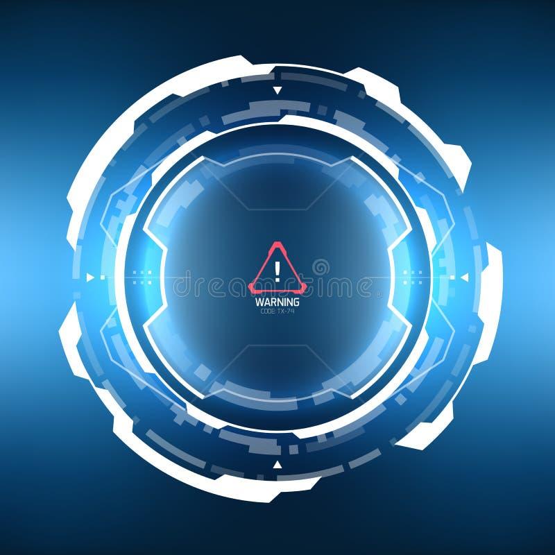未来派科学幻想小说圆HUD元素 向量例证