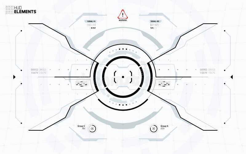 未来派科学幻想小说技术HUD屏幕 向量例证