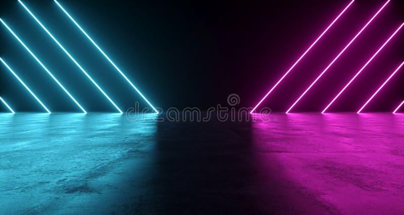 未来派科学幻想小说摘要蓝色和紫色霓虹灯形状 向量例证