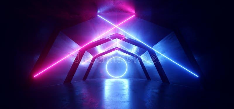 未来派科学幻想小说曲拱紫色蓝色激光霓虹灯发光的黑暗的难看的东西反射性具体隧道走廊走廊外籍人 向量例证