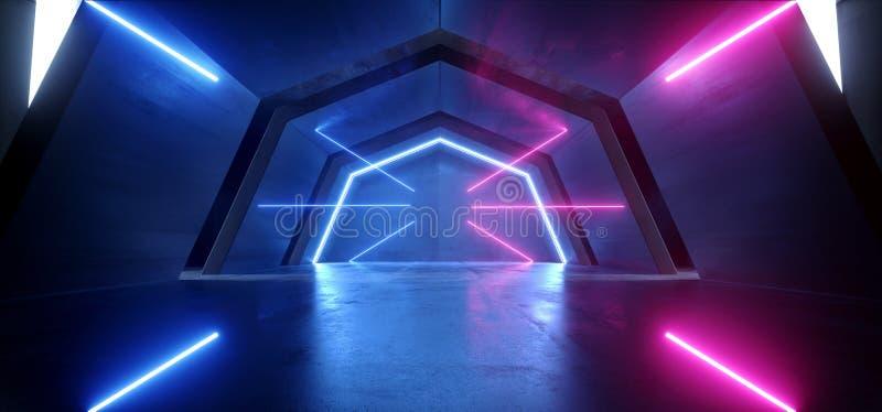 未来派科学幻想小说曲拱紫色蓝色激光霓虹灯发光的黑暗的难看的东西反射性具体隧道走廊走廊外籍人 库存例证