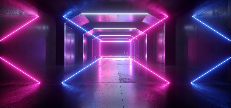 未来派科学幻想小说激光霓虹形状发光的轻的充满活力的紫色蓝色阶段夜总会背景难看的东西具体黑暗的隧道 向量例证
