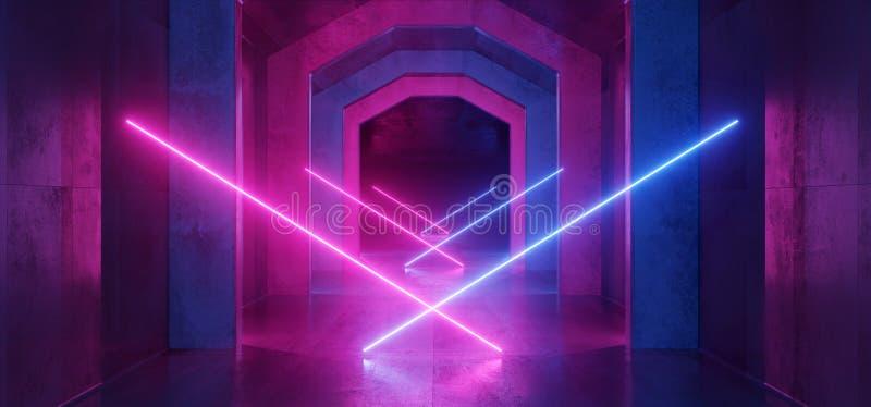 未来派科学幻想小说激光霓虹形状发光的轻的充满活力的紫色蓝色阶段夜总会背景难看的东西具体黑暗的隧道 皇族释放例证