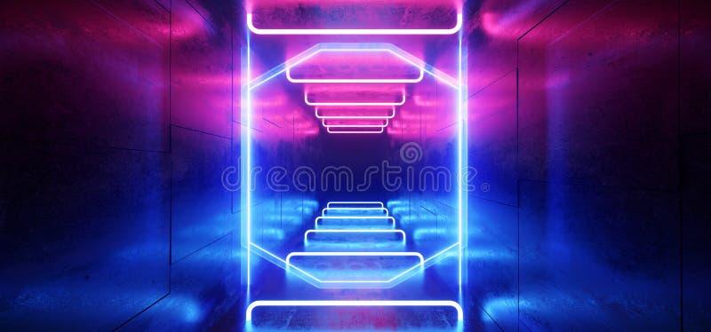未来派科学幻想小说激光霓虹形状发光的轻的充满活力的紫色蓝色阶段夜总会背景难看的东西具体黑暗的隧道 库存例证