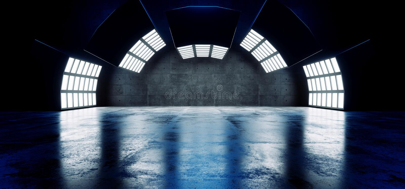 未来派科学幻想小说现代空的大霍尔黑暗的难看的东西反射性混凝土弯曲了大白色蓝色光演播室阶段空的陈列室 向量例证