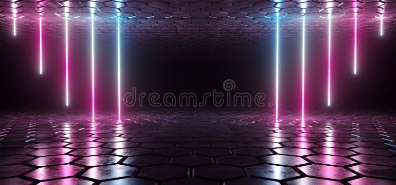 未来派科学幻想小说蓝色紫色发光的氖灯排行光  皇族释放例证