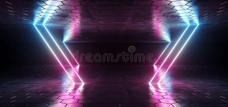 未来派科学幻想小说蓝色紫色发光的氖灯排行光  库存例证