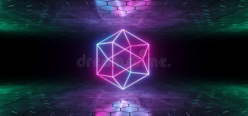未来派科学幻想小说蓝色紫色发光的氖灯摘要Geomet 库存例证