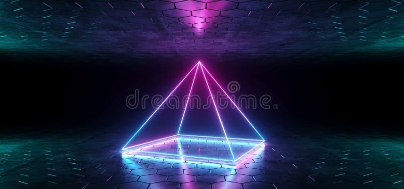 未来派科学幻想小说蓝色紫色发光的氖灯金字塔形状的L 向量例证