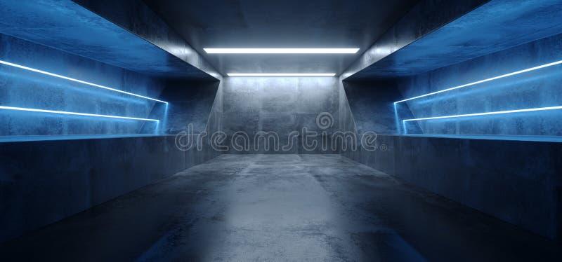 未来派科学幻想小说霓虹萤光充满活力的虚拟现实蓝色发光的难看的东西具体黑暗的空的隧道地下车库 皇族释放例证