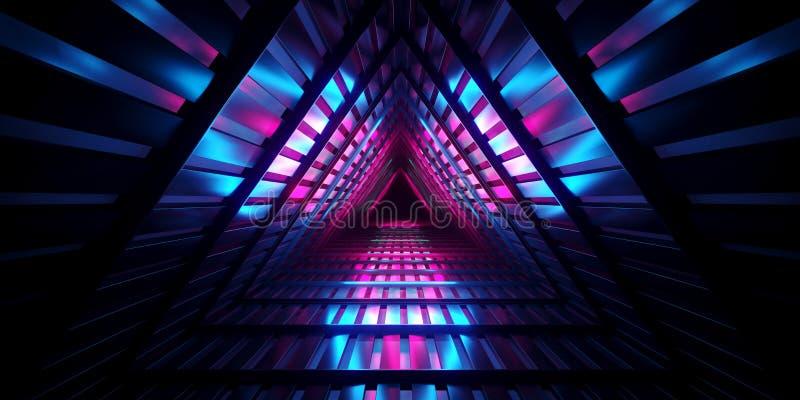 未来派科学幻想小说黑暗的空的三角内部金属滤网Corrid 库存例证