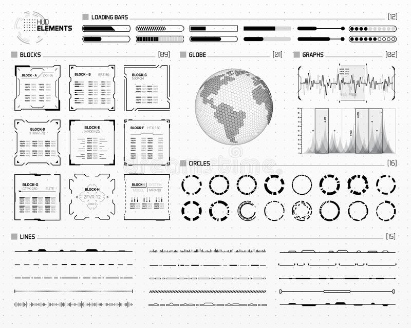 未来派科学幻想小说HUD元素集 向量例证
