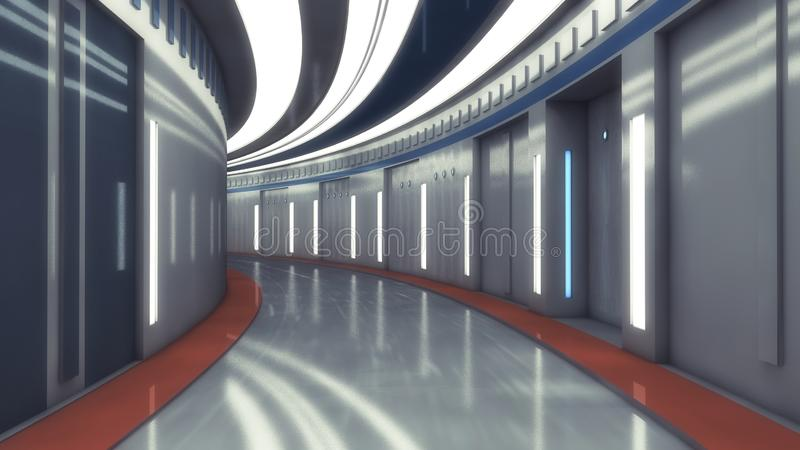 未来派空的内部走廊 库存例证