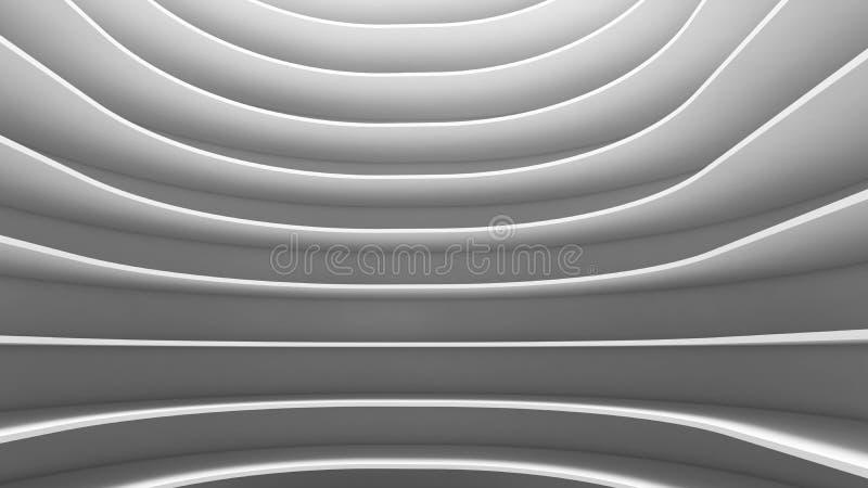 未来派空的曲线室结构  在whi的室内设计 库存例证