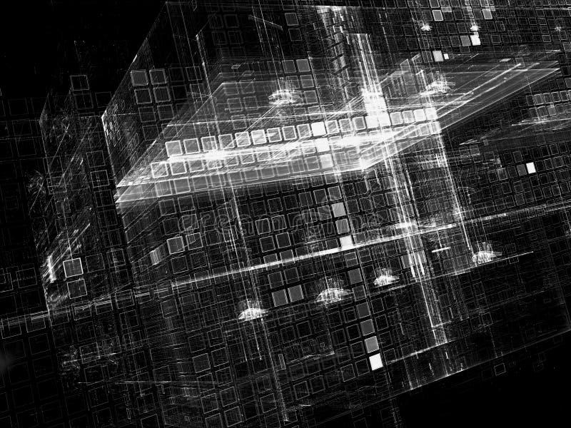 未来派立方体-摘要数位引起的图象 库存例证