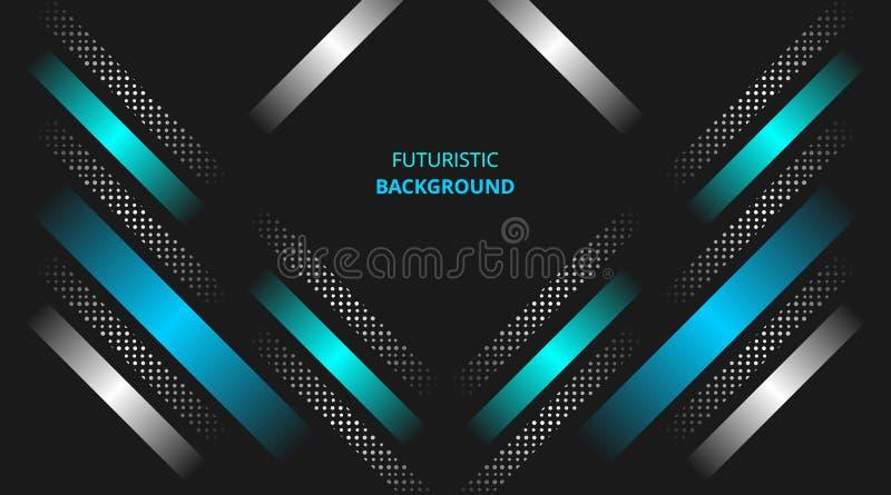 未来派背景发光的蓝色白色现代techno公司业务设计 皇族释放例证