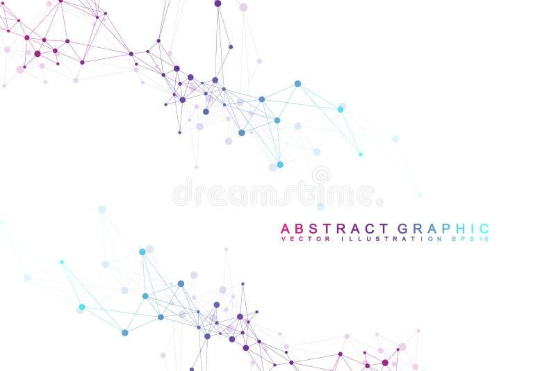 未来派背景通信,全球化 线和小点连接了到科幻场面 现代向量 库存例证