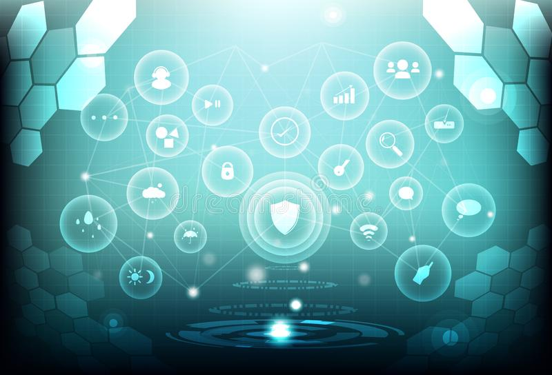 未来派脑子低多角形网络连接数字的科学 向量例证