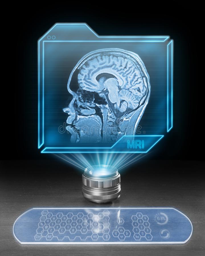 未来派脑部扫描 皇族释放例证