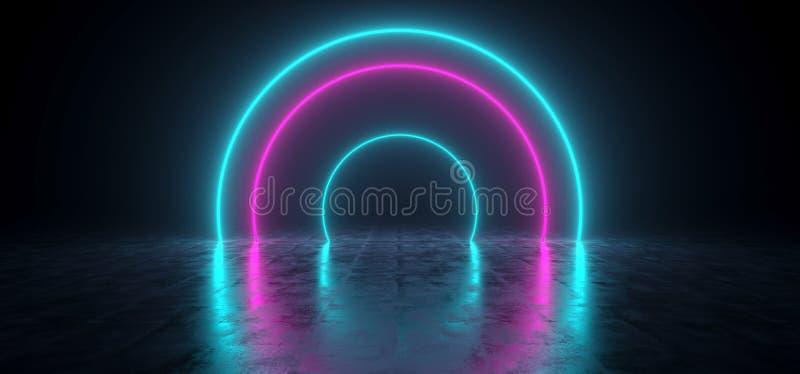 未来派蓝色科学幻想小说发光的霓虹色的形状和紫色  皇族释放例证