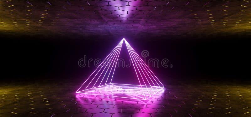 未来派被塑造的科学幻想小说蓝色发光的氖灯摘要金字塔 库存例证