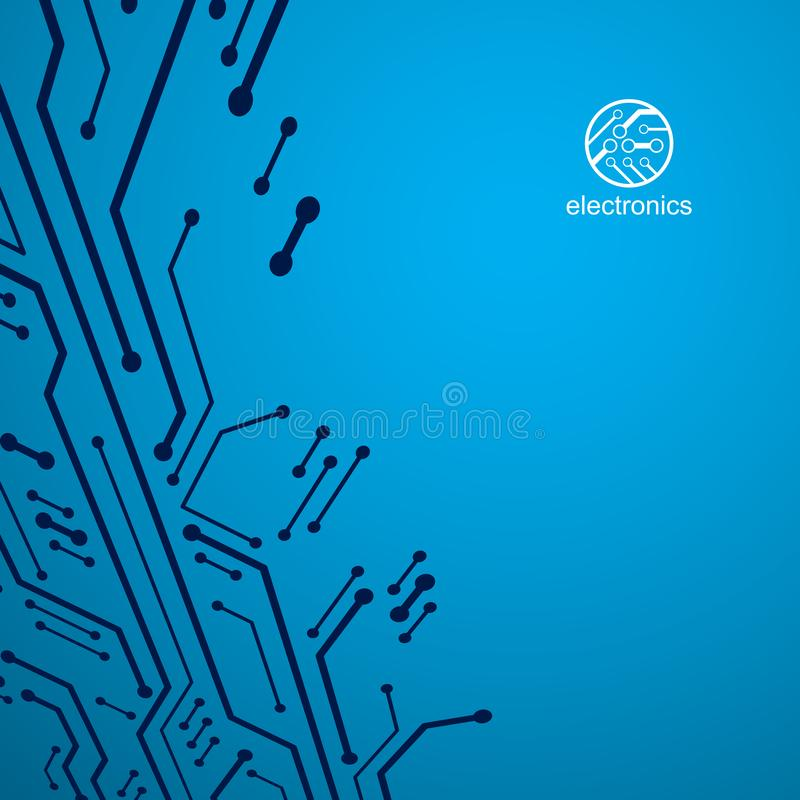未来派计算机控制学的计划,传染媒介主板例证 数字元素,电路板 技术创新摘要 向量例证