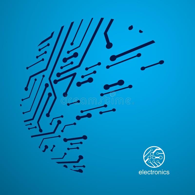 未来派计算机控制学的计划,传染媒介主板例证 d 皇族释放例证