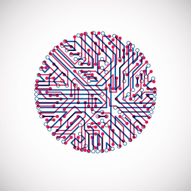 未来派计算机控制学的计划,传染媒介主板蓝色和红色il 库存例证