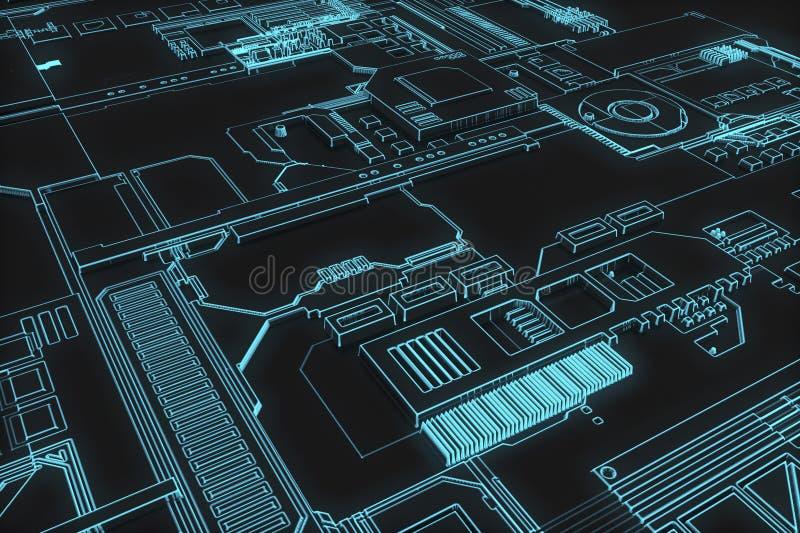 未来派计算机板 向量例证