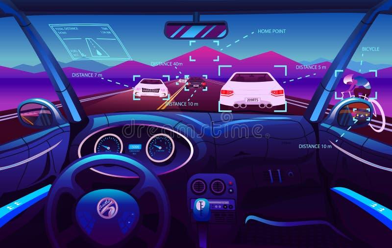 未来派车沙龙,电巧妙的汽车 司机视图 在一辆巧妙的汽车的仪表板控制 实际控制或汽车 皇族释放例证