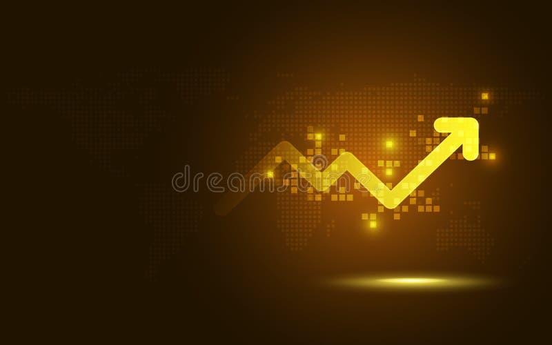 未来派金子培养箭头图数字变革抽象技术背景 大数据和企业成长货币 向量例证
