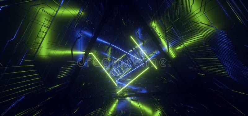 未来派霓虹浅兰的绿色亢奋五角形三角详细的科学幻想小说外籍人太空飞船反射性金属走廊隧道门 库存例证
