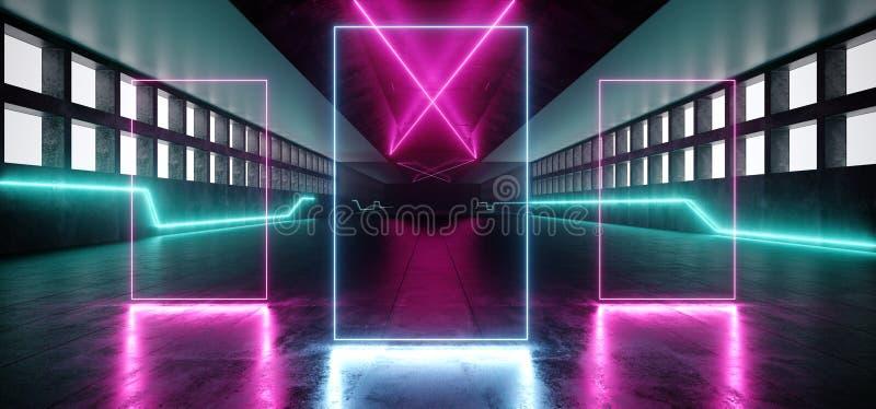 未来派霓虹科学幻想小说充满活力的发光的紫色蓝色白色霍尔巨大的Windows具体难看的东西激光阶段走廊入口门 皇族释放例证