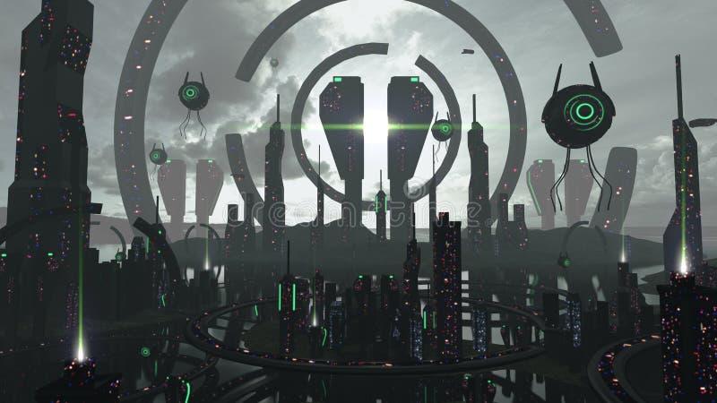 未来派黑和霓虹作用的外籍人科学幻想小说城市 3d翻译 向量例证
