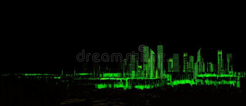 未来派3d城市霓虹灯 免版税库存图片