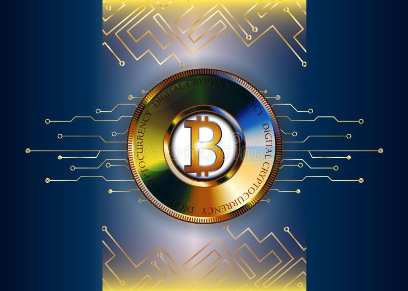 未来派bitcoin背景例证 线和硬币 金子