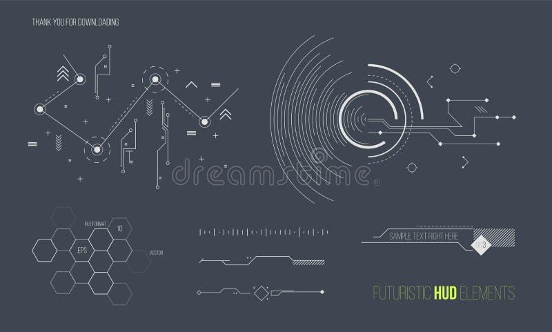 未来派HUD元素传染媒介收藏 空间技术背景图形设计对象 库存例证