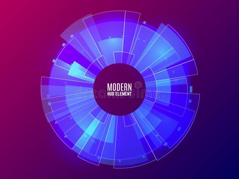 未来派HUD元素 圈子技术概念 现代蓝色和紫罗兰色背景 未来techno设计 向量 皇族释放例证