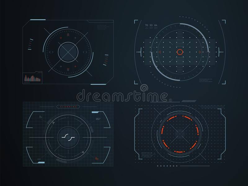 未来派hud实际控制盘区 全息图触摸屏高科技传染媒介设计 皇族释放例证