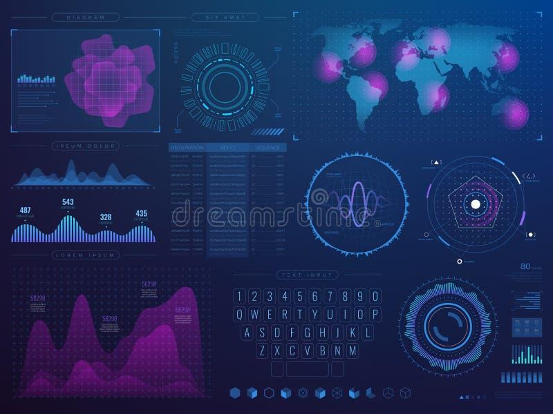 未来派Hud接口 与infographic元素的科学未来技术传染媒介ui 库存例证
