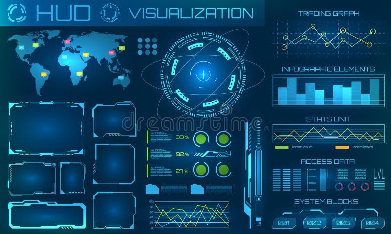 未来派HUD背景 Infographic或技术接口信息形象化的 向量例证