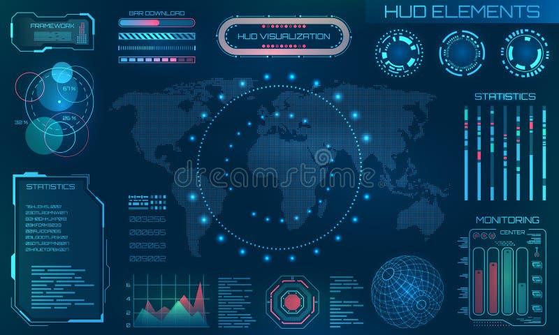 未来派HUD设计元素 Infographic或技术接口信息形象化的 向量例证