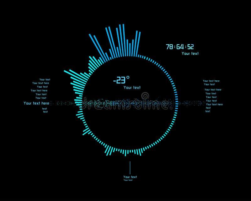 未来派infographics作为平视显示的显示 库存例证