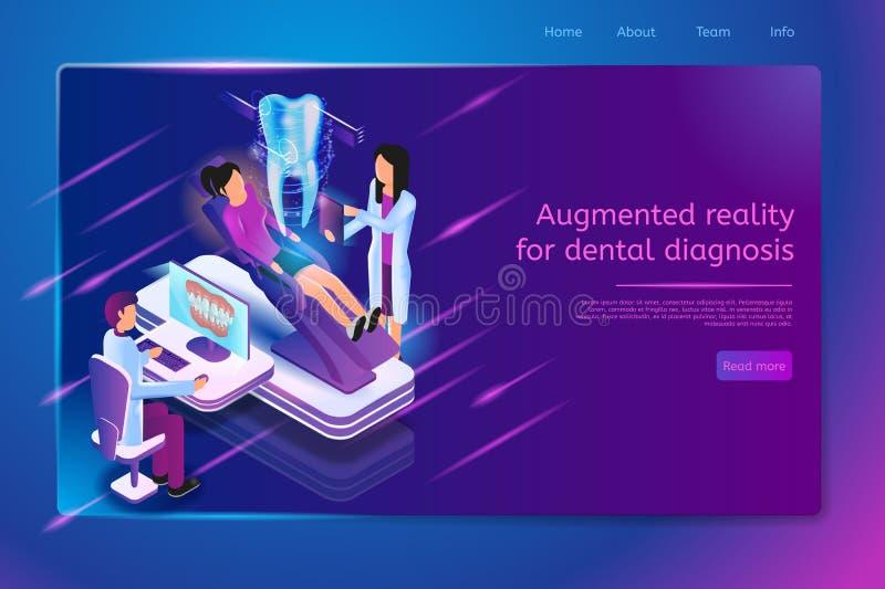 未来牙医实践传染媒介网页模板 向量例证