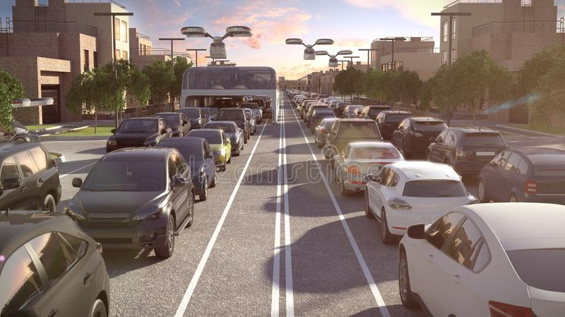 未来的城市公共汽车 交通堵塞 风险轻率冒险日落时间 3d例证 皇族释放例证