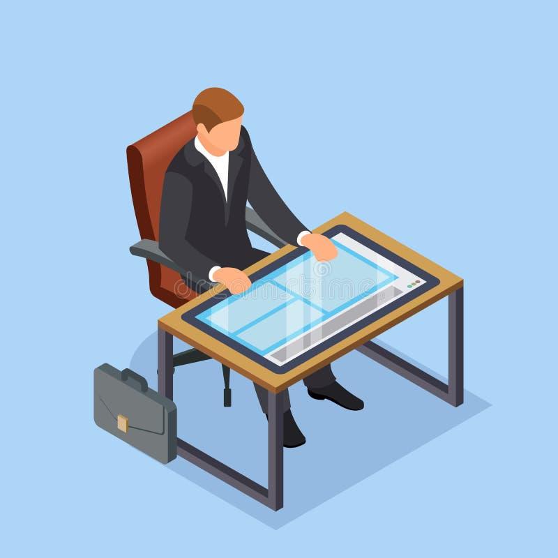 未来的工作场所 商人或经理,当工作时 而不是桌面的大片剂 现代技术 皇族释放例证
