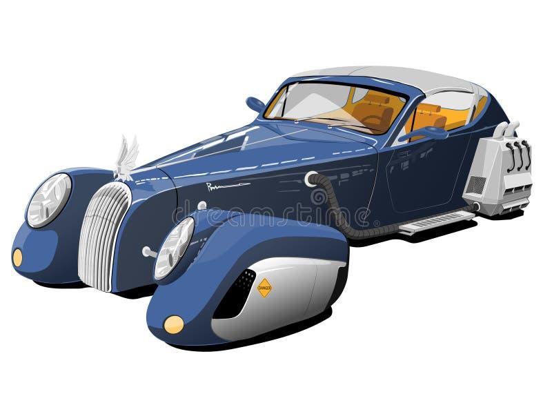 未来的蓝色汽车 向量例证